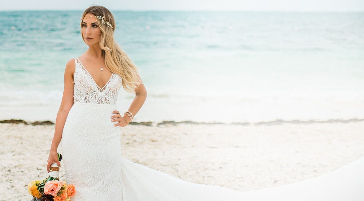 lace wedding dress on the beach from sorelle bridal salon in washington, pennsylvania